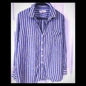 Linen striped casual button up!
